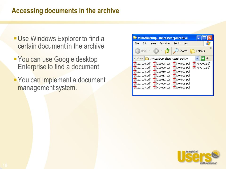 Accessing documents in the archive