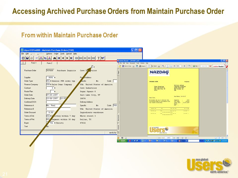 Accessing Archived Purchase Orders from Maintain Purchase Order