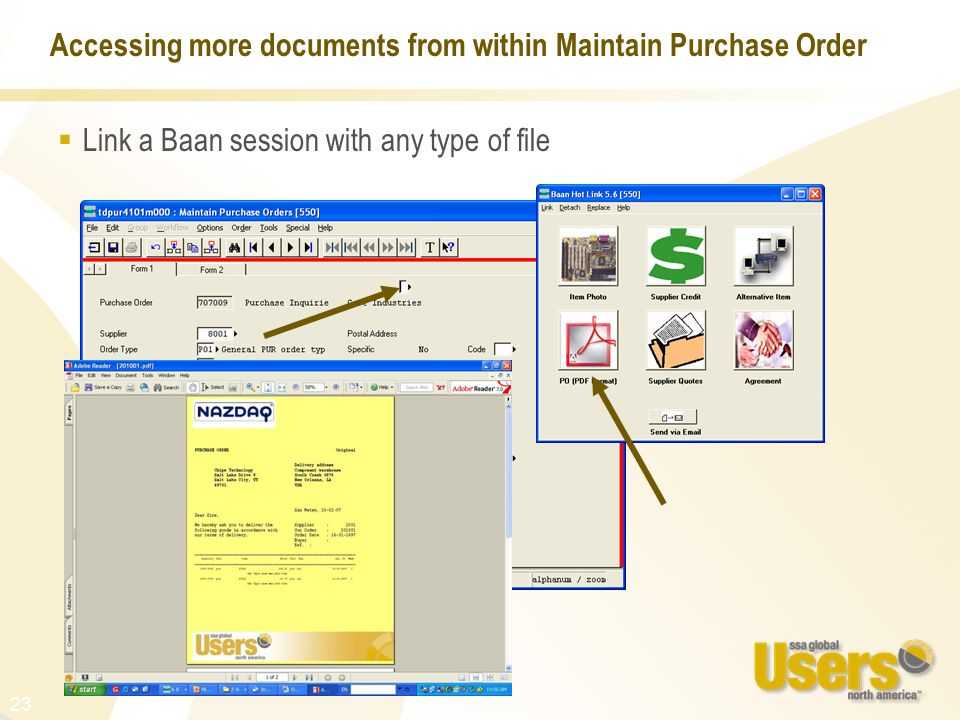 Accessing more documents from within Maintain Purchase Order