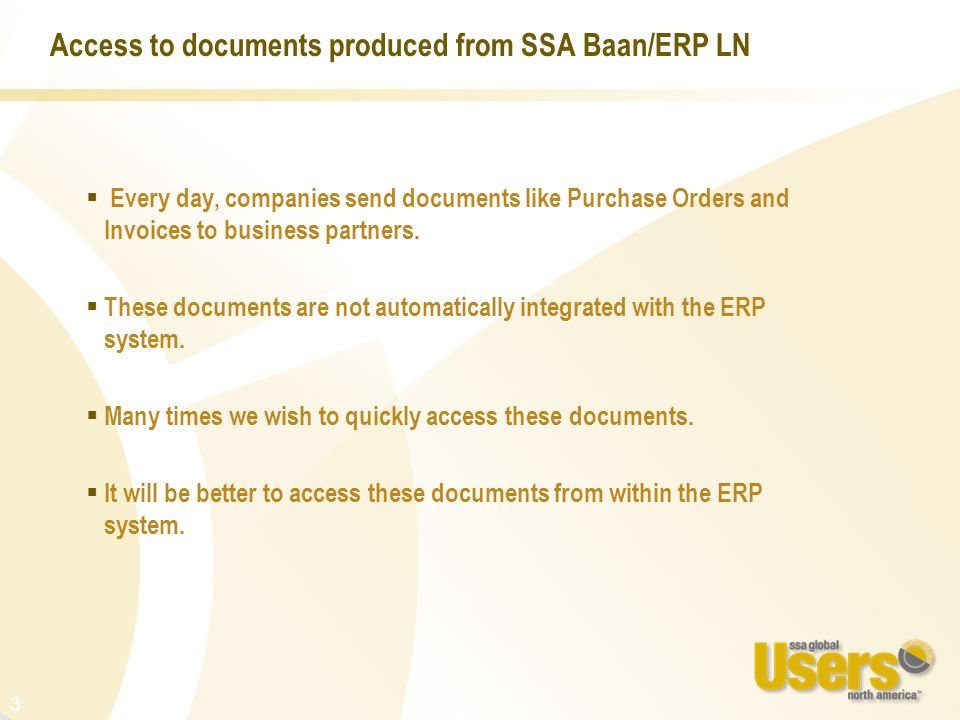 Access to documents produced from SSA Baan/ERP LN