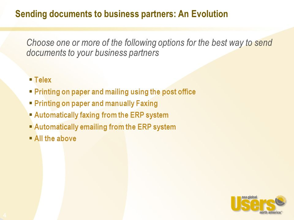 Sending documents to business partners: An Evolution