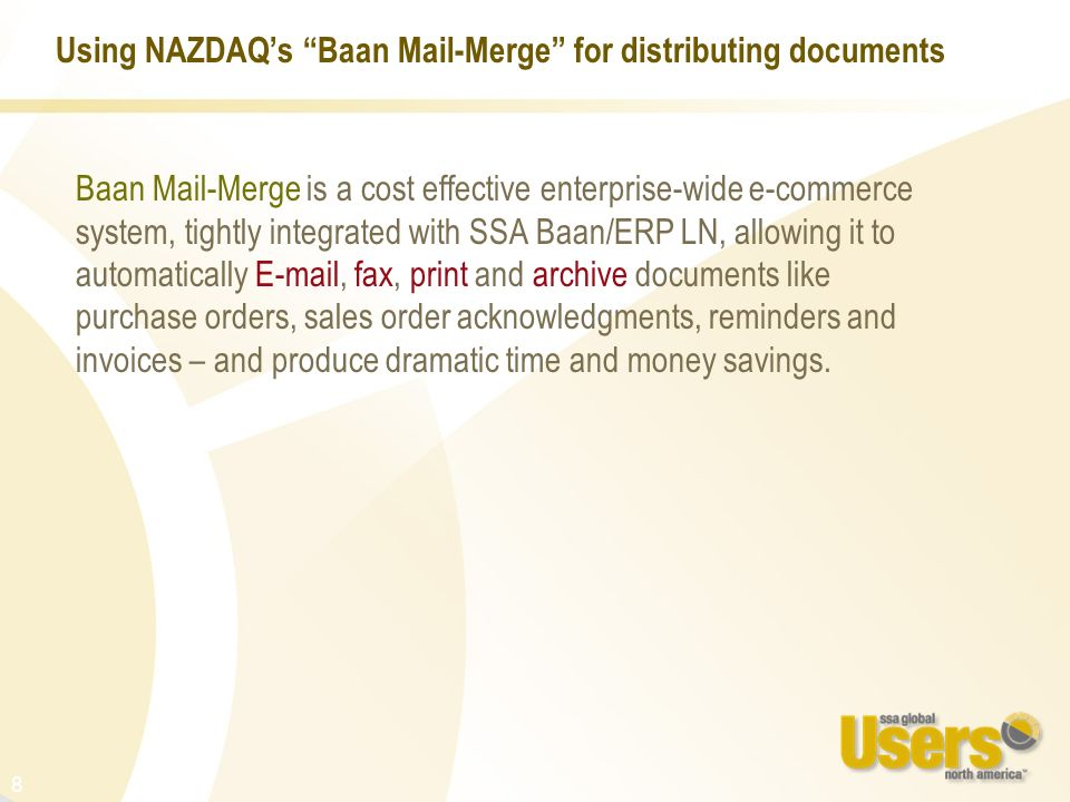 Using NAZDAQ's Baan Mail-Merge for distributing documents