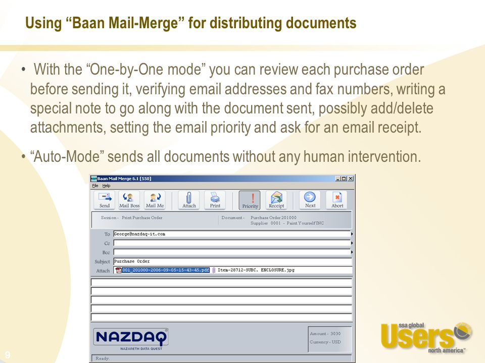 Using Baan Mail-Merge for distributing documents