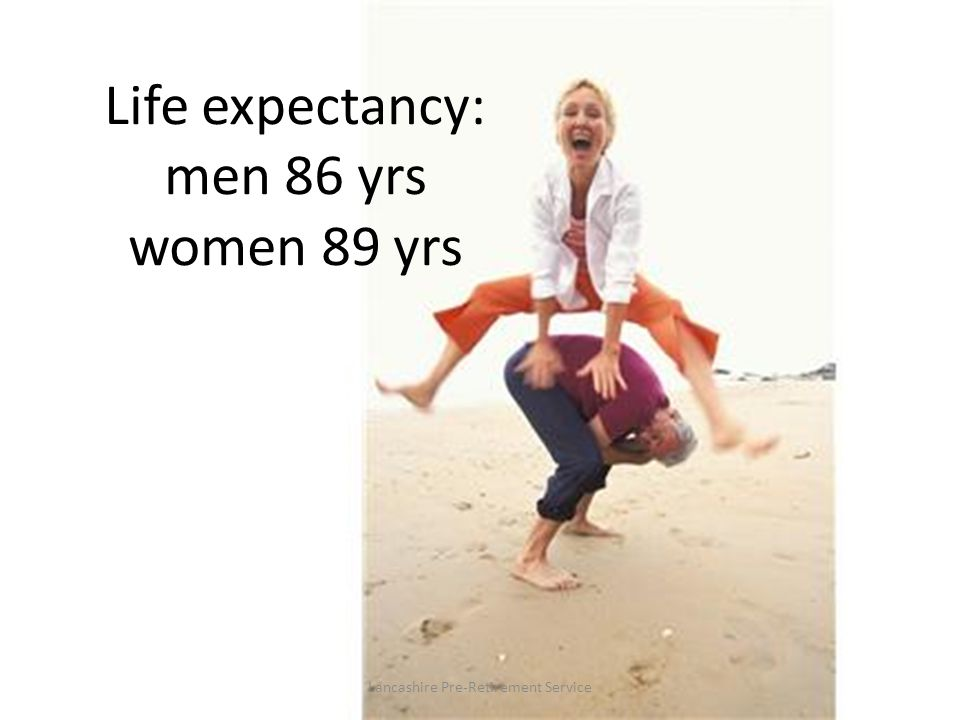 Life expectancy: men 86 yrs women 89 yrs