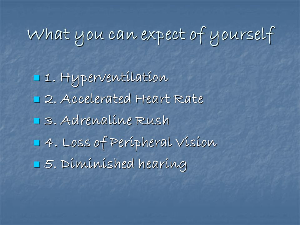 What you can expect of yourself