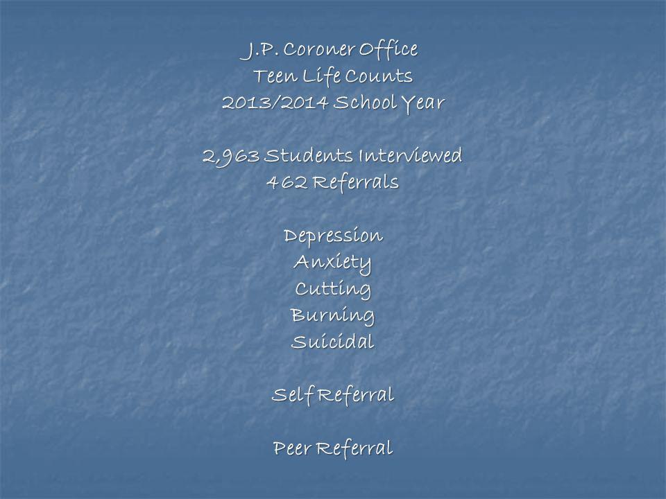J.P. Coroner Office Teen Life Counts. 2013/2014 School Year. 2,963 Students Interviewed. 462 Referrals.
