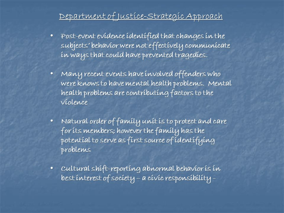 Department of Justice-Strategic Approach