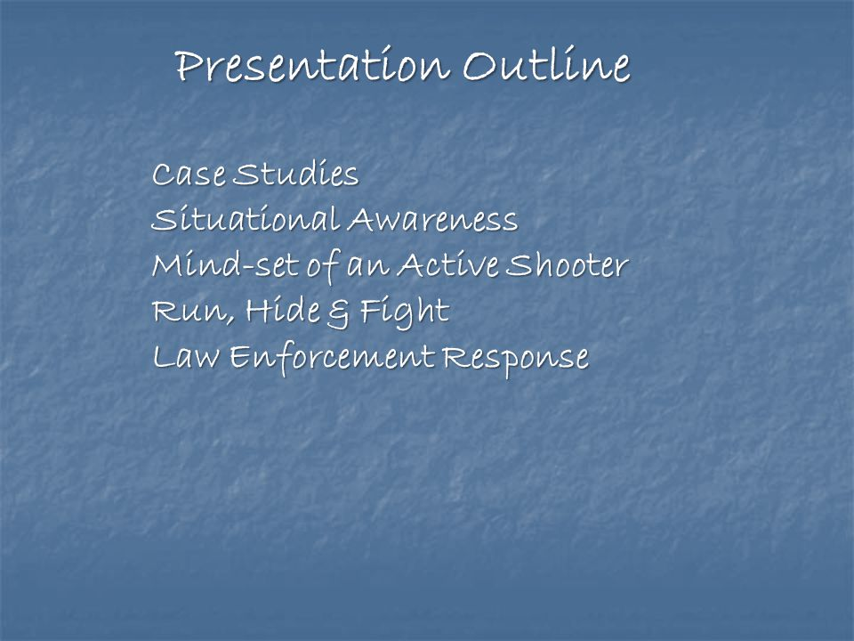 Presentation Outline Case Studies Situational Awareness