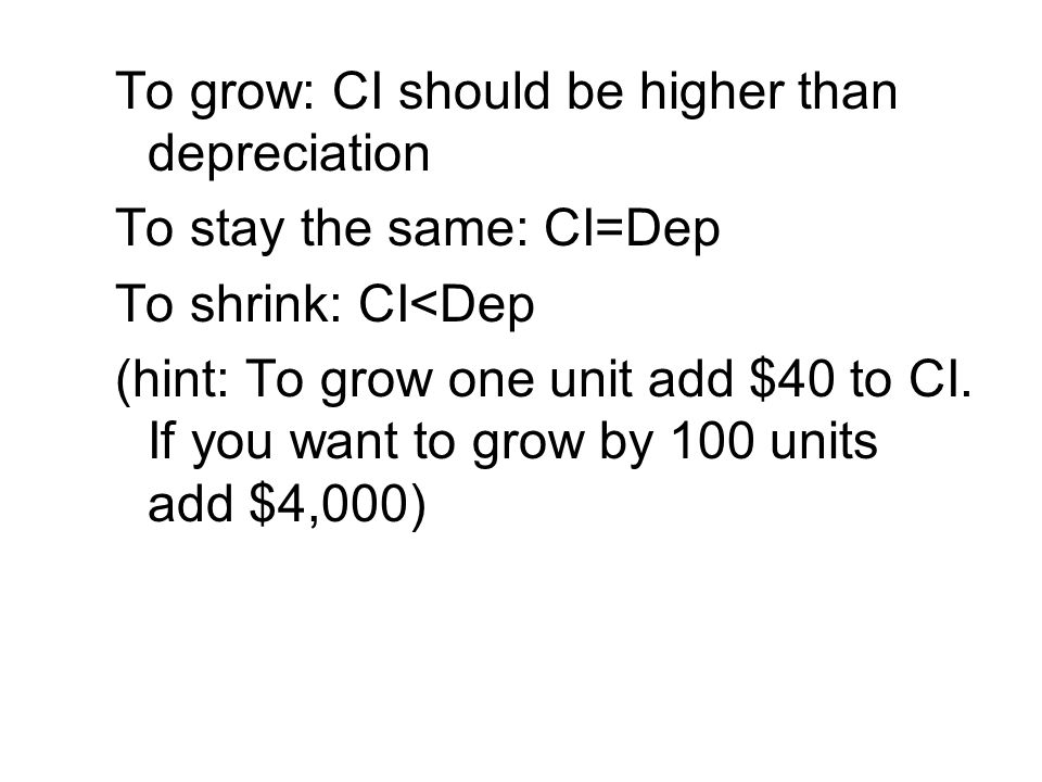 To grow: CI should be higher than depreciation
