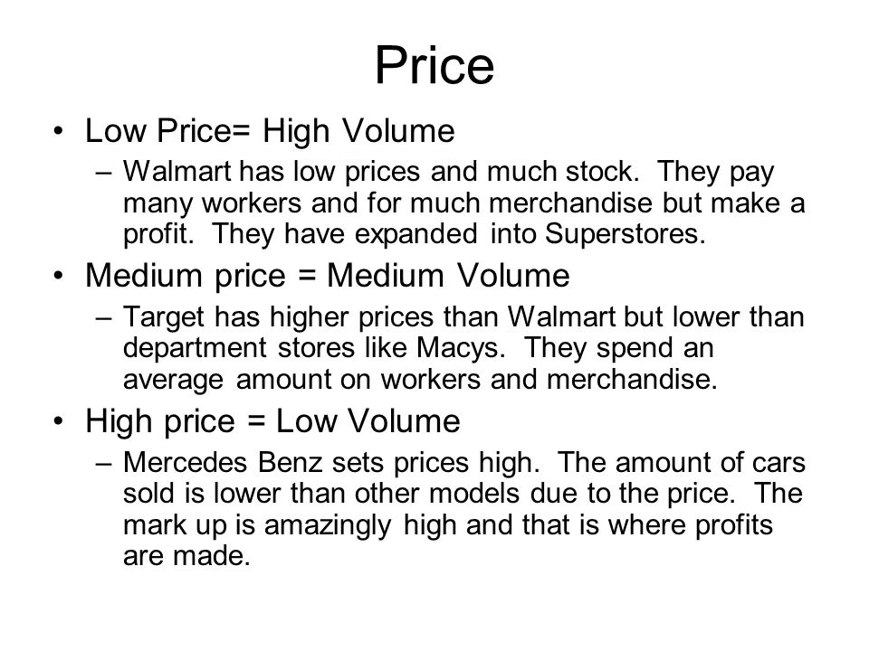 Price Low Price= High Volume Medium price = Medium Volume