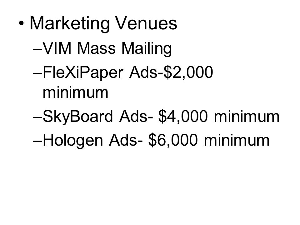 Marketing Venues VIM Mass Mailing FleXiPaper Ads-$2,000 minimum