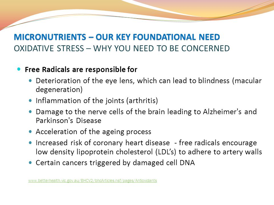 MICRONUTRIENTS – OUR KEY FOUNDATIONAL NEED OXIDATIVE STRESS – WHY YOU NEED TO BE CONCERNED