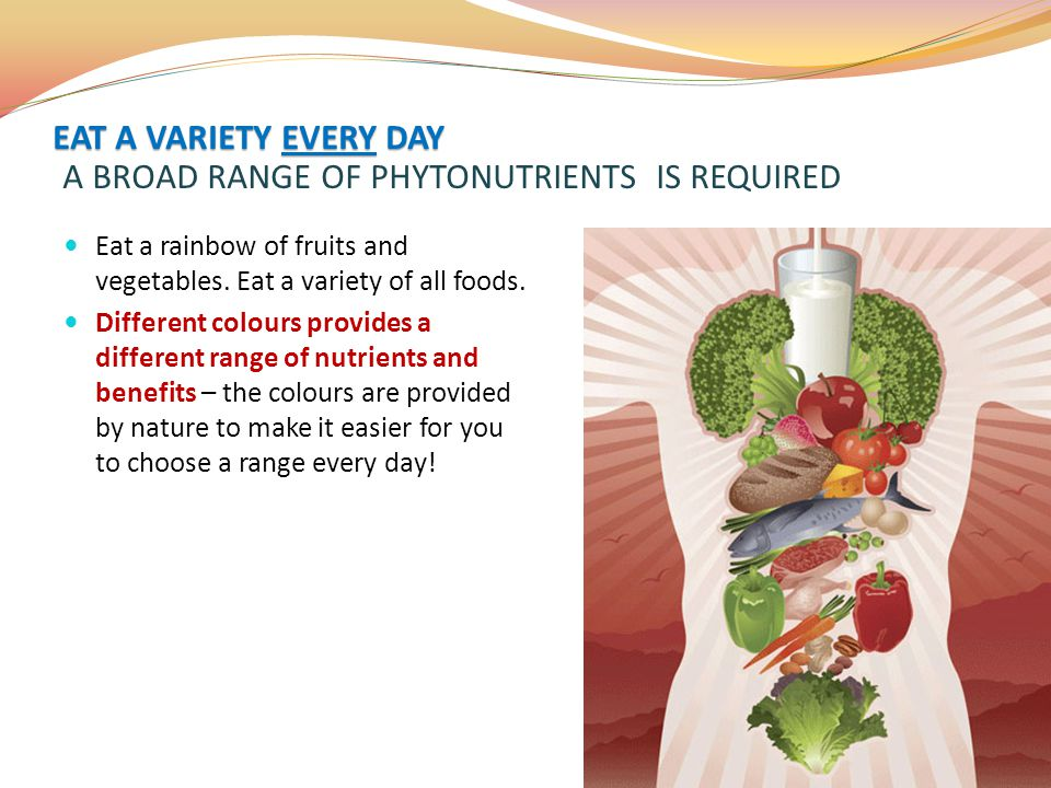 EAT A VARIETY EVERY DAY A BROAD RANGE OF PHYTONUTRIENTS IS REQUIRED
