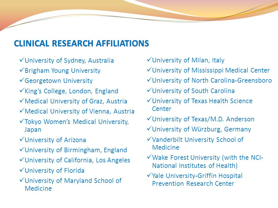CLINICAL RESEARCH AFFILIATIONS