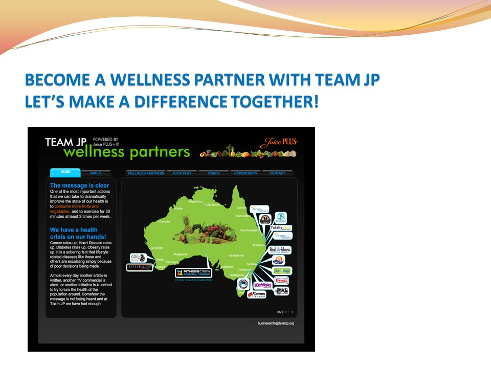 BECOME A WELLNESS PARTNER WITH TEAM JP