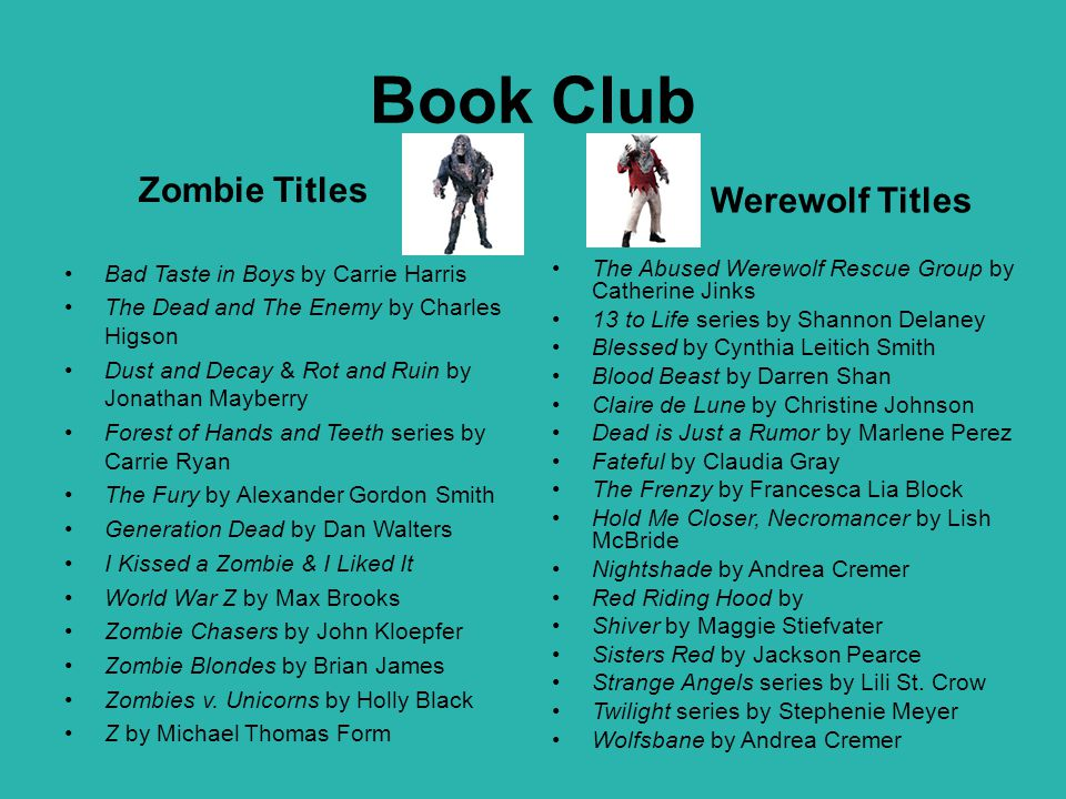 Book Club Zombie Titles Werewolf Titles