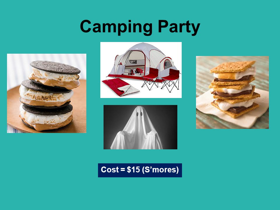 Camping Party Cost = $15 (S'mores)