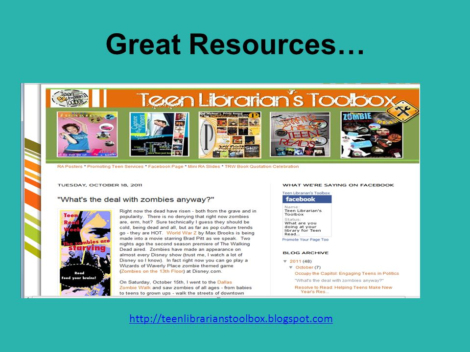 Great Resources… http://teenlibrarianstoolbox.blogspot.com