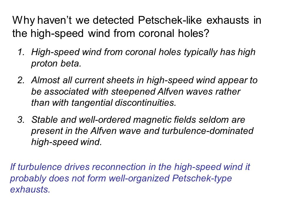 Why haven't we detected Petschek-like exhausts in the high-speed wind from coronal holes