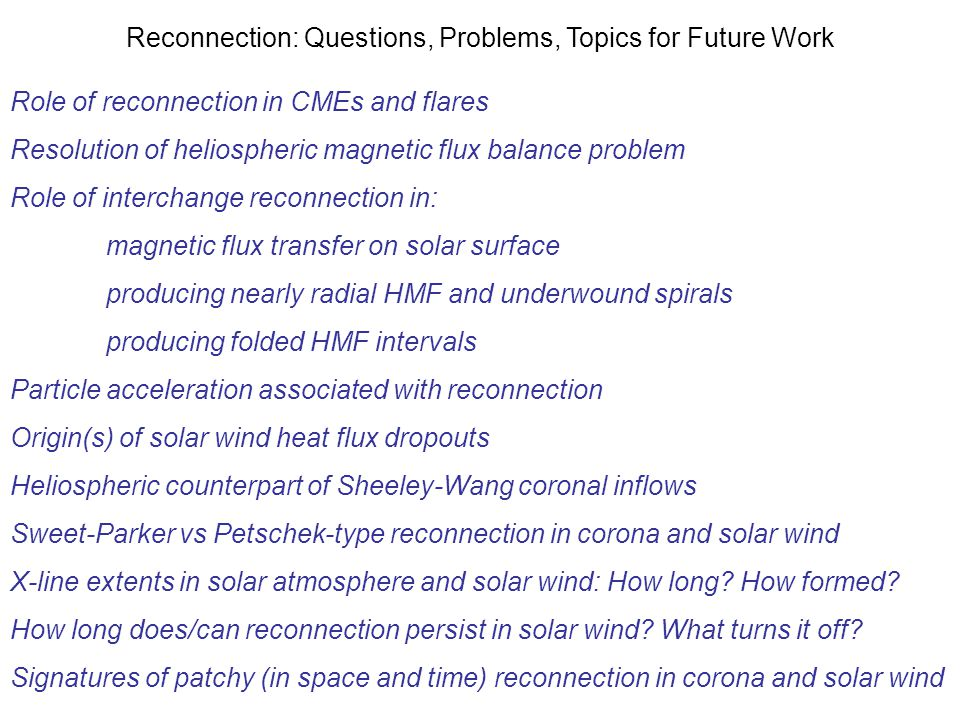 Reconnection: Questions, Problems, Topics for Future Work