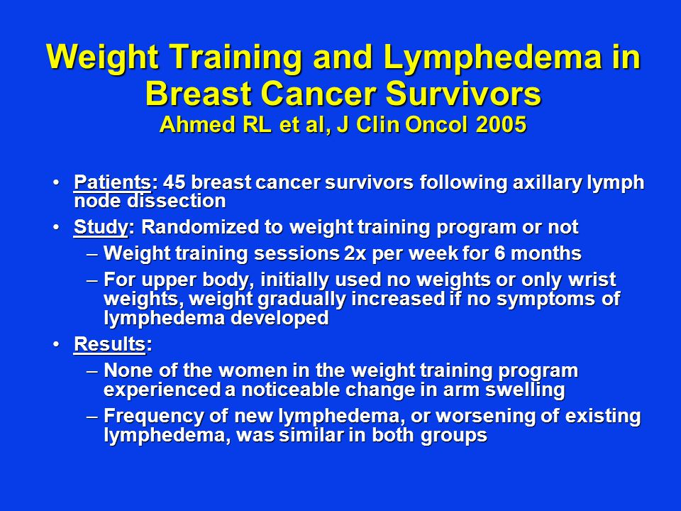 Weight Training and Lymphedema in Breast Cancer Survivors Ahmed RL et al, J Clin Oncol 2005