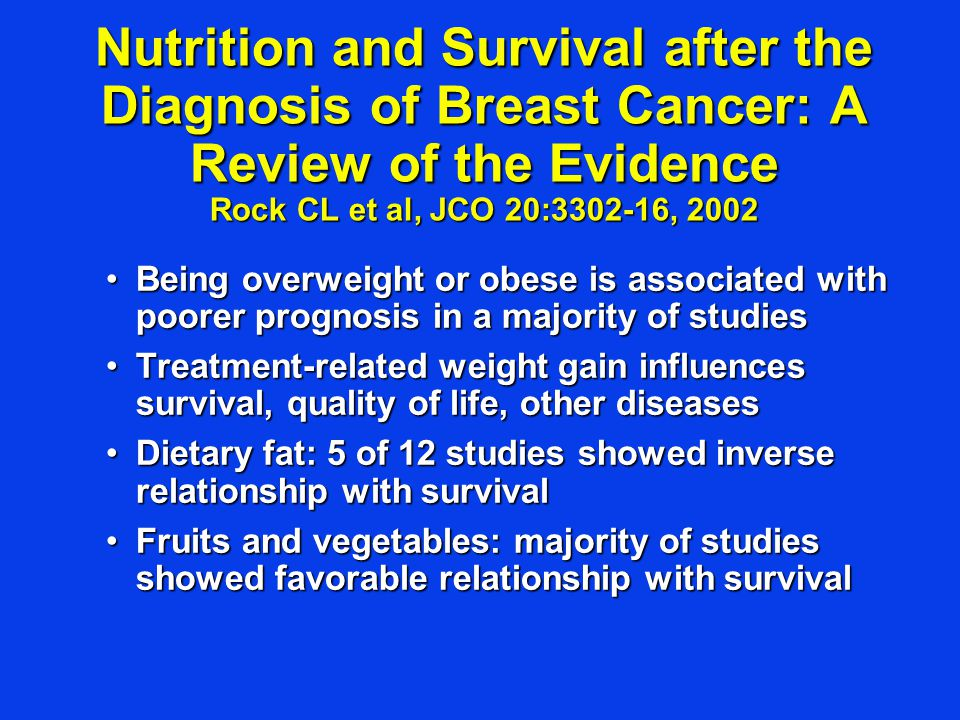 Nutrition and Survival after the Diagnosis of Breast Cancer: A Review of the Evidence Rock CL et al, JCO 20:3302-16, 2002