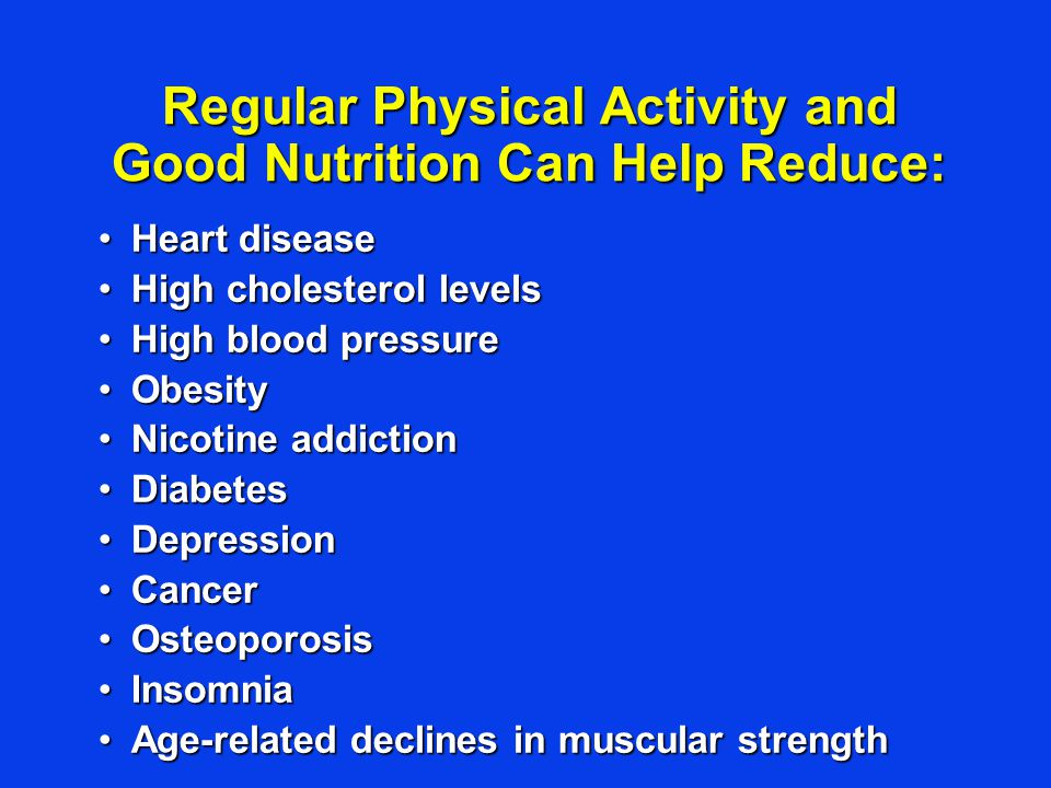 Regular Physical Activity and Good Nutrition Can Help Reduce: