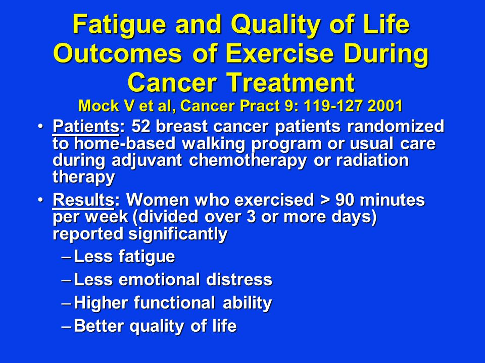 Fatigue and Quality of Life Outcomes of Exercise During Cancer Treatment Mock V et al, Cancer Pract 9: 119-127 2001