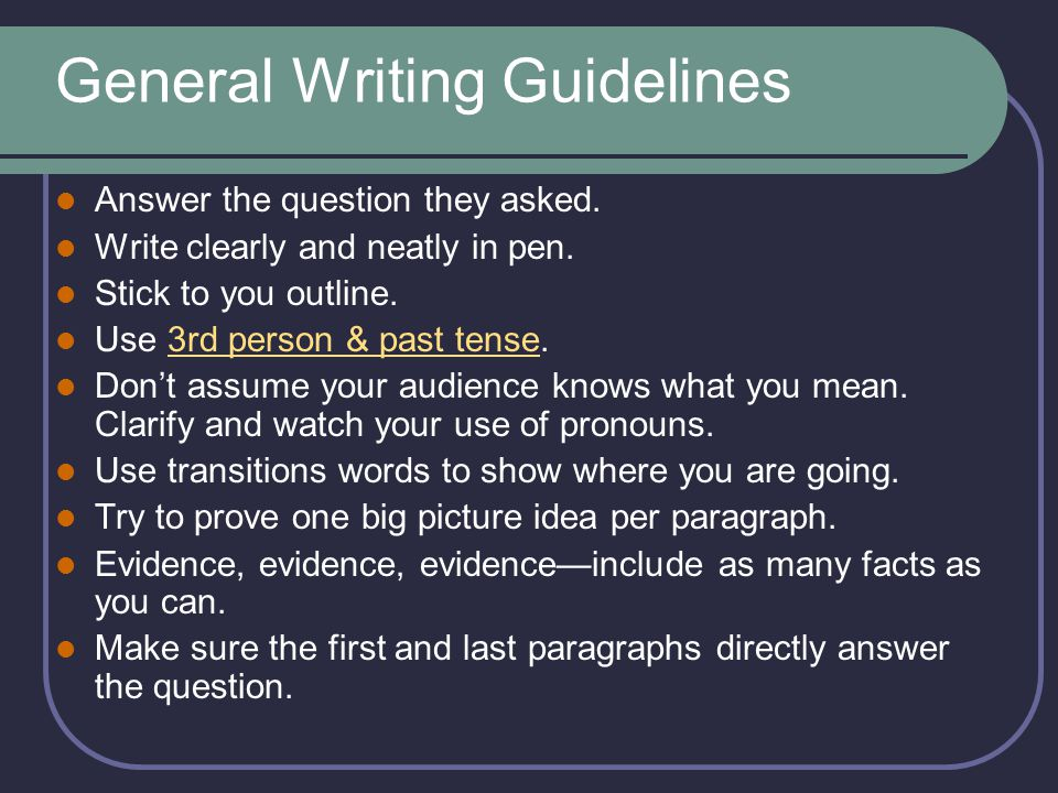 General Writing Guidelines