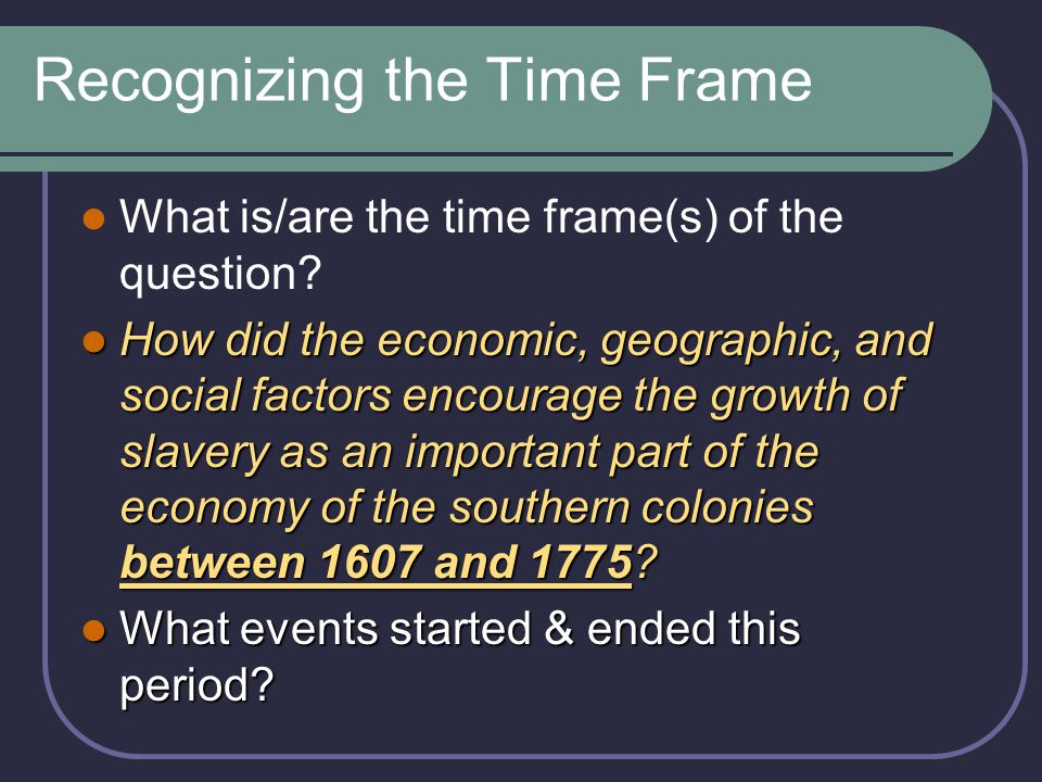 Recognizing the Time Frame