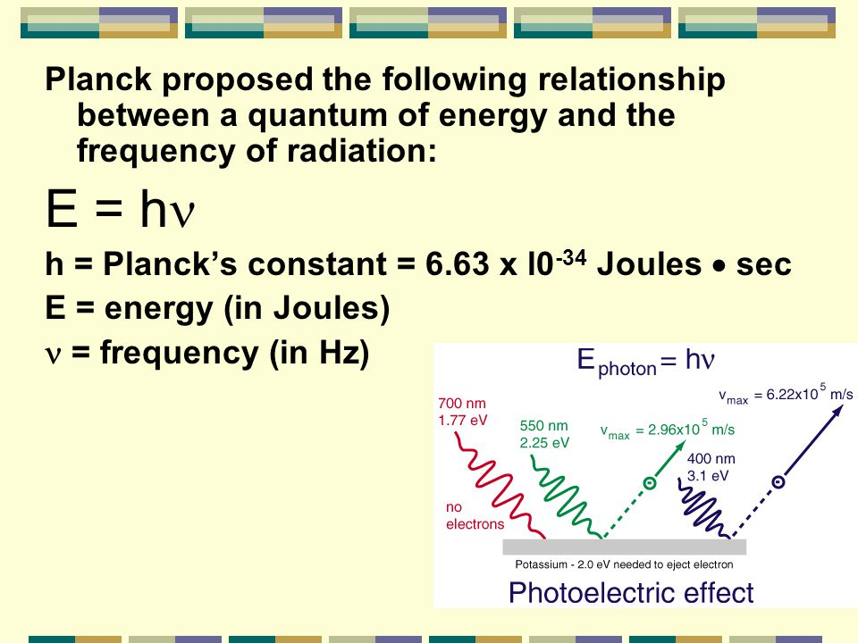 Planck proposed the following relationship between a quantum of energy and the frequency of radiation: