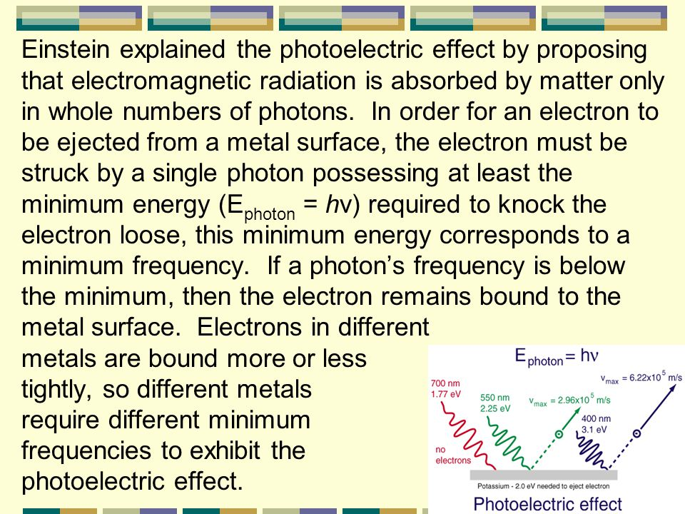 Einstein explained the photoelectric effect by proposing that electromagnetic radiation is absorbed by matter only in whole numbers of photons.