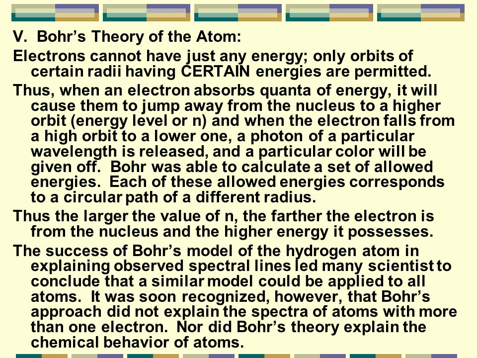 V. Bohr's Theory of the Atom: