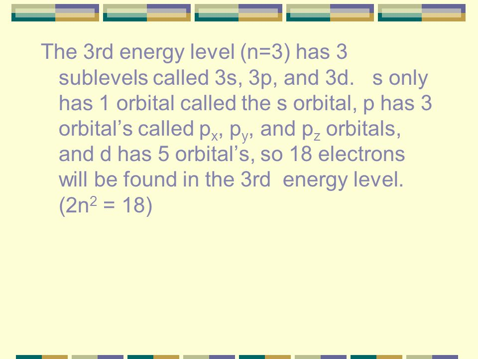 The 3rd energy level (n=3) has 3 sublevels called 3s, 3p, and 3d