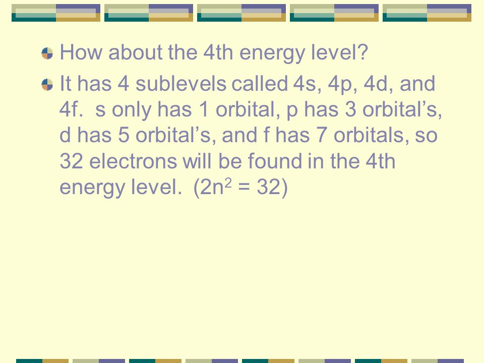How about the 4th energy level