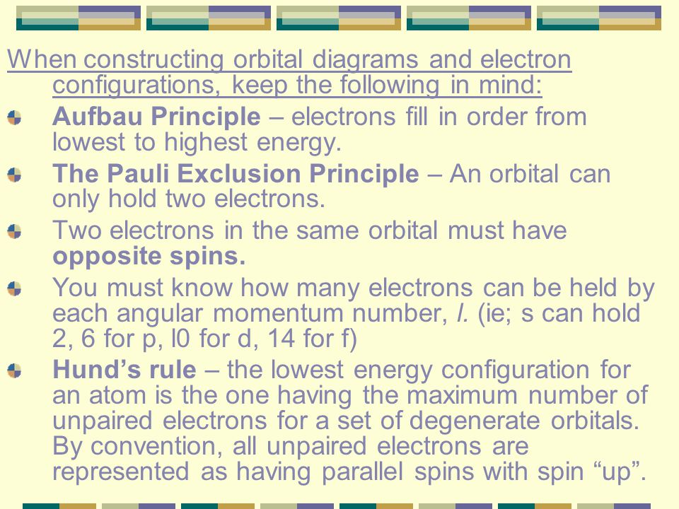 When constructing orbital diagrams and electron configurations, keep the following in mind: