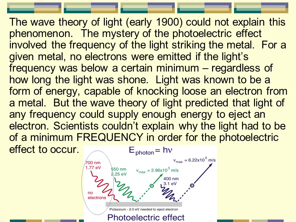 The wave theory of light (early 1900) could not explain this phenomenon. The mystery of the photoelectric effect involved the frequency of the light striking the metal. For a given metal, no electrons were emitted if the light's frequency was below a certain minimum – regardless of how long the light was shone. Light was known to be a form of energy, capable of knocking loose an electron from a metal. But the wave theory of light predicted that light of any frequency could supply enough energy to eject an electron. Scientists couldn't explain why the light had to be of a minimum FREQUENCY in order for the photoelectric effect to occur.