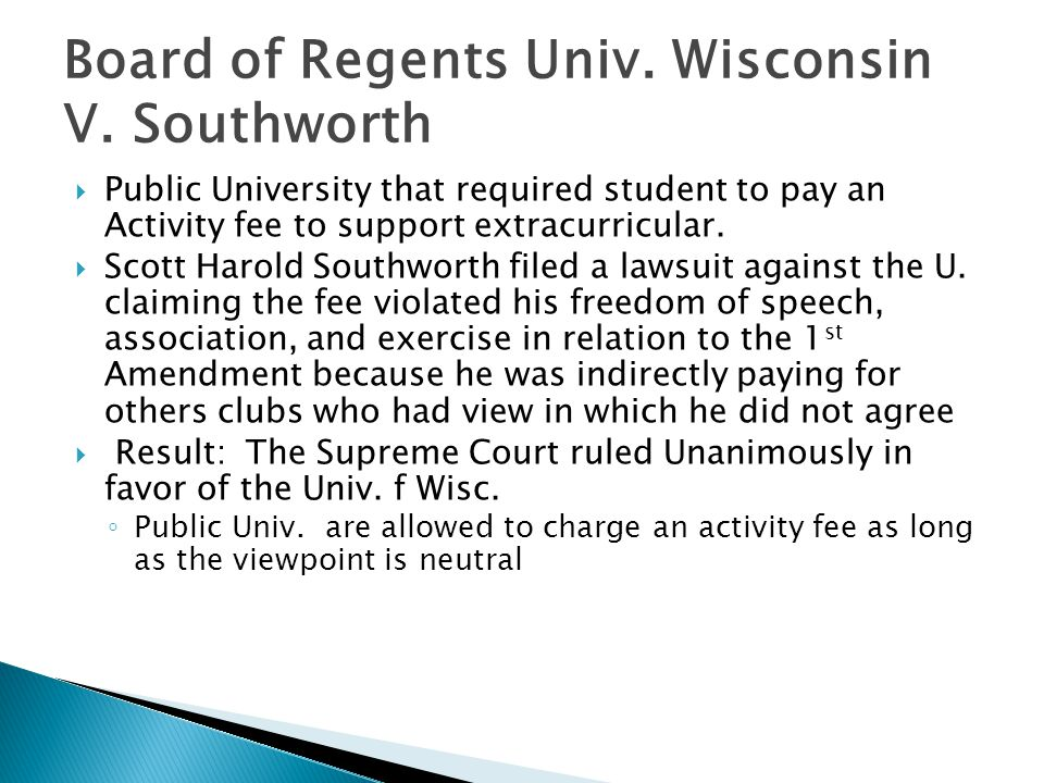 Board of Regents Univ. Wisconsin V. Southworth