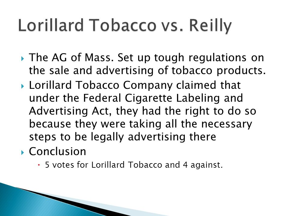 Lorillard Tobacco vs. Reilly