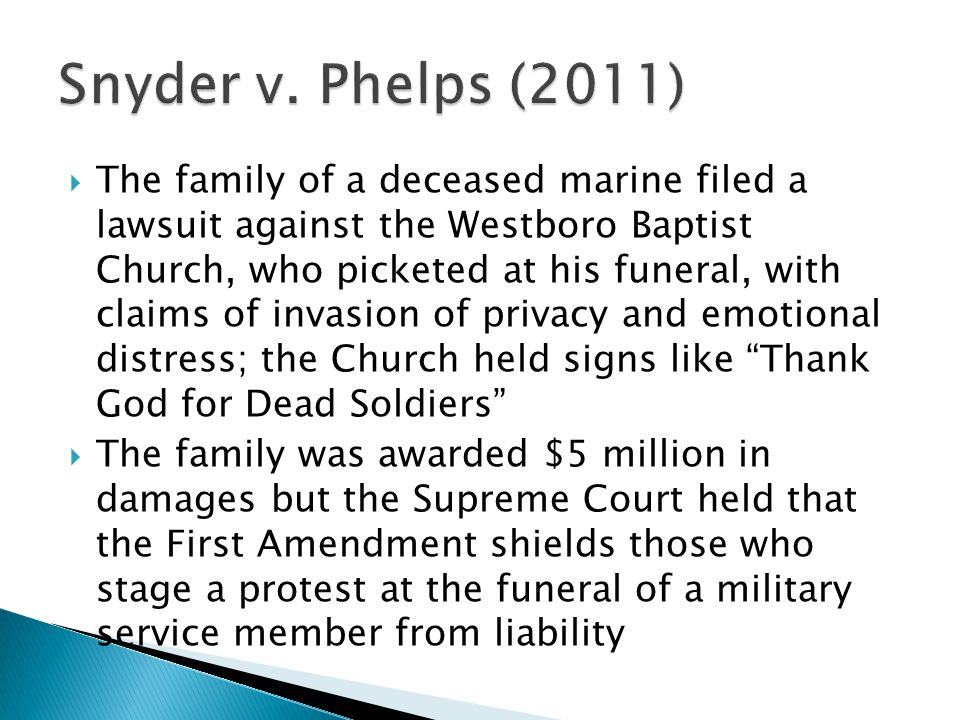 snyder v phelps essay Facts fred phelps and his followers at the westboro baptist church believe that god punishes the united states for its tolerance of homosexuality, particularly within.