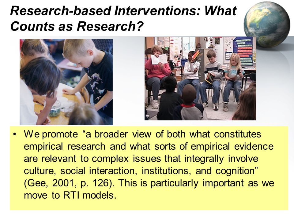 Research-based Interventions: What Counts as Research