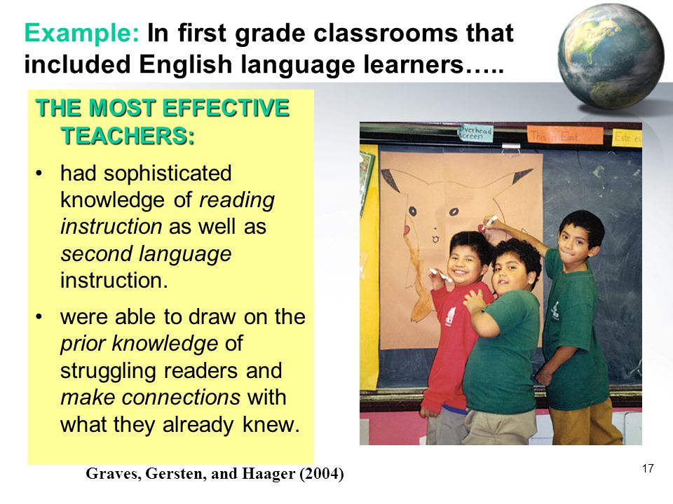 Example: In first grade classrooms that included English language learners…..