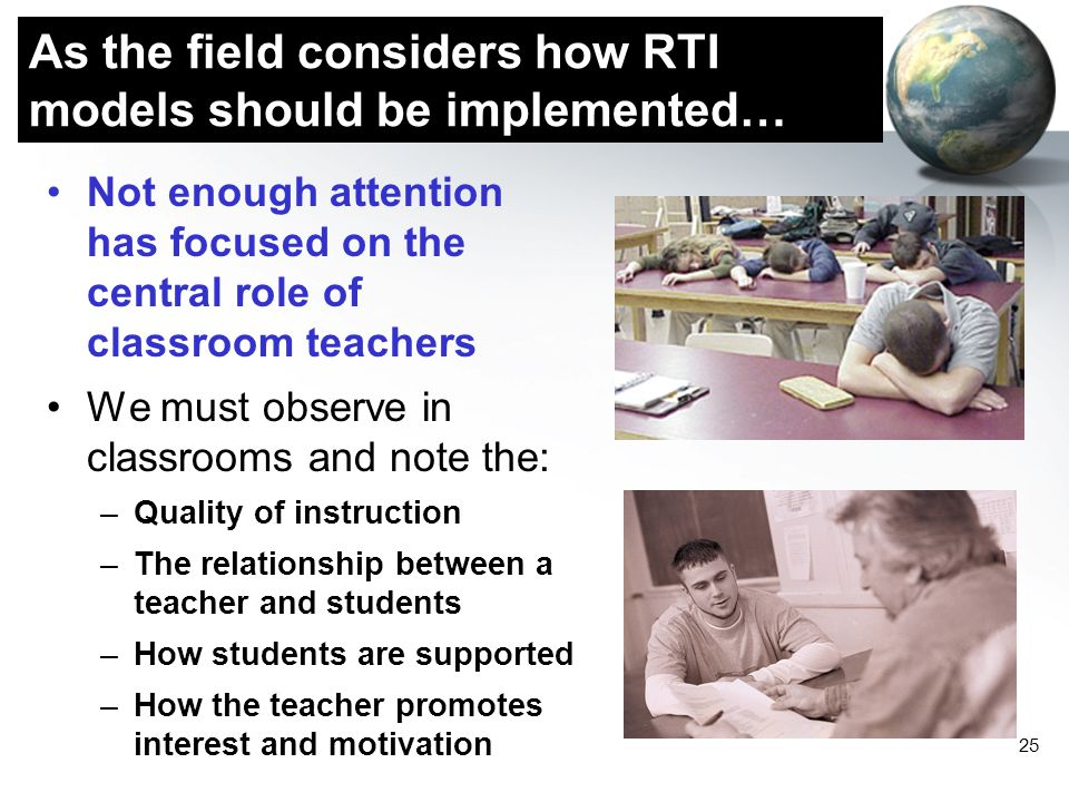 As the field considers how RTI models should be implemented…