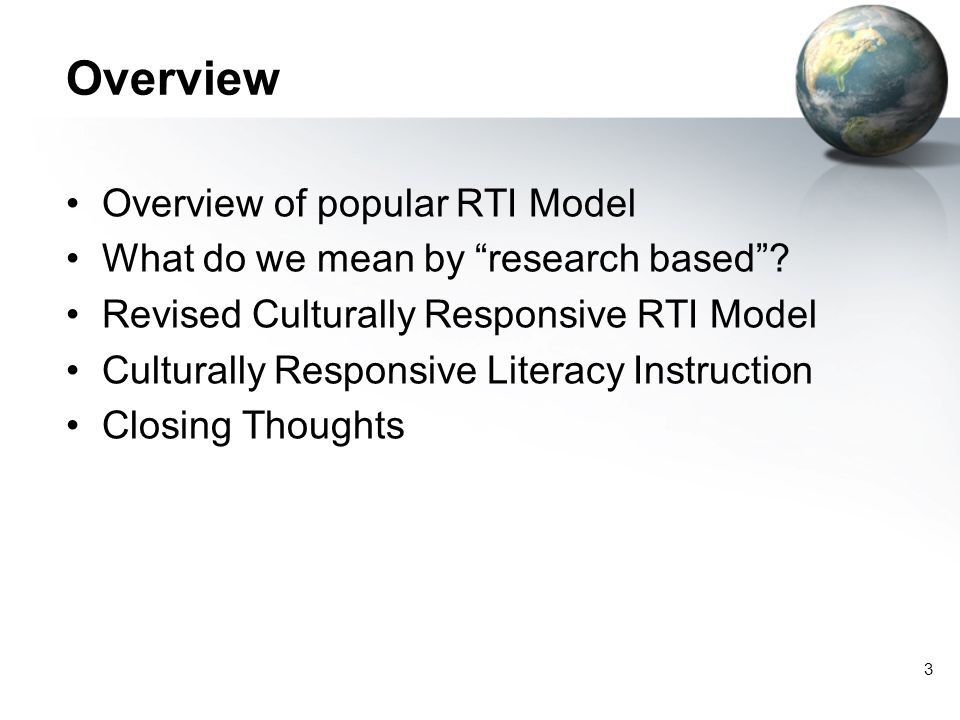 Overview Overview of popular RTI Model
