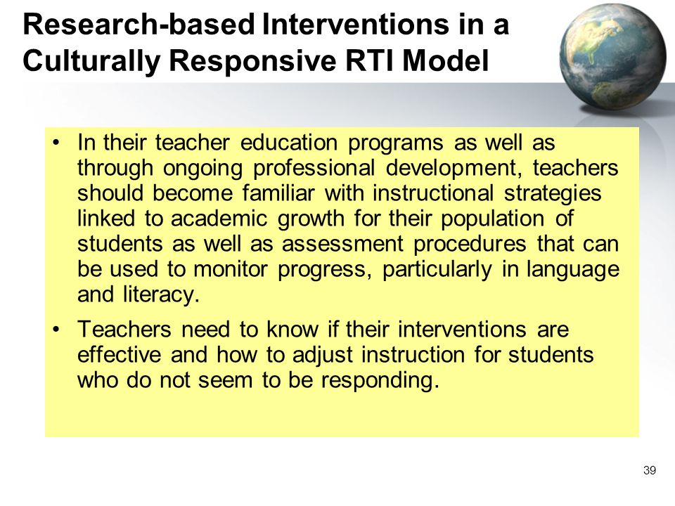 Research-based Interventions in a Culturally Responsive RTI Model
