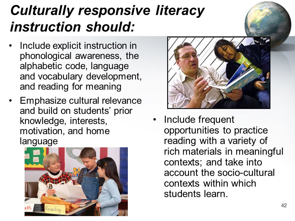 Culturally responsive literacy instruction should: