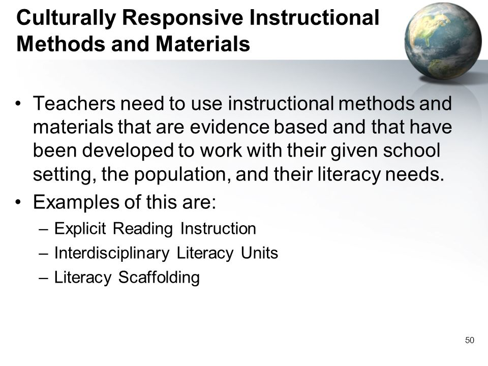 Culturally Responsive Instructional Methods and Materials