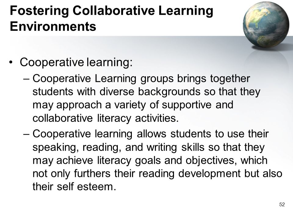 Fostering Collaborative Learning Environments