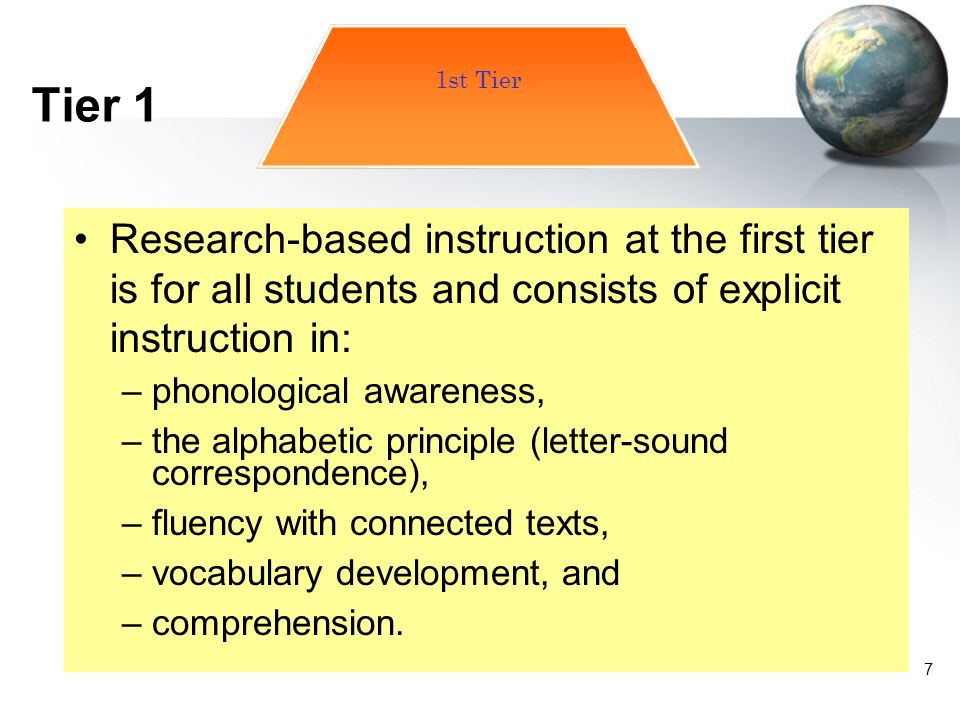 Tier 1 1st Tier. Research-based instruction at the first tier is for all students and consists of explicit instruction in: