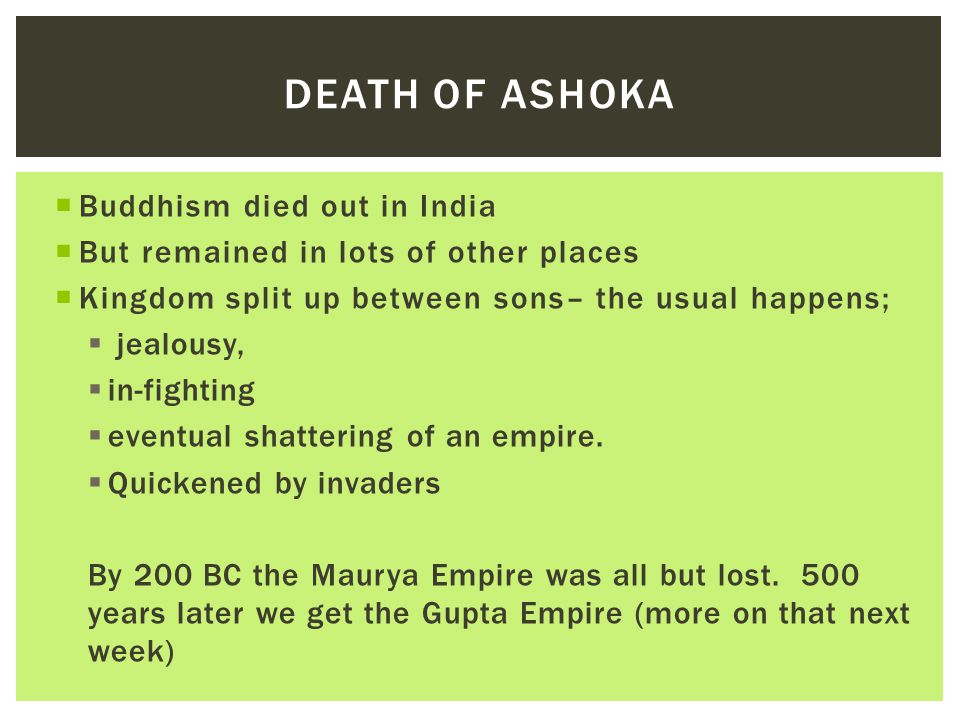 Death of Ashoka Buddhism died out in India